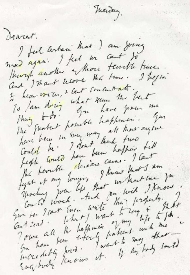 Virginia Woolf's Suicide Letter